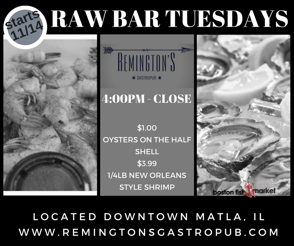 You are currently viewing Raw Bar Tuesdays at Remingtons!